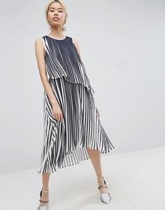Ярусное плиссированное платье миди ASOS WHITE - Мульти