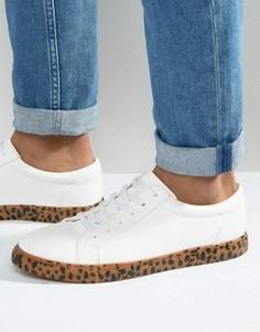 Белые кроссовки с леопардовым принтом на подошве ASOS - Белый