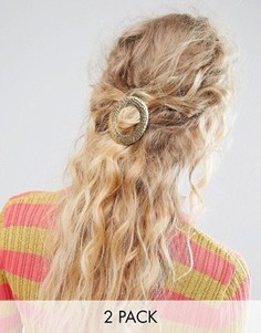 2 заколки для волос с кованным эффектом ASOS - Золотой