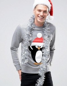 Новогодний свитшот с принтом Jack & Jones - Серый