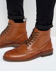 Светло-коричневые кожаные ботинки-броги ASOS - Рыжий