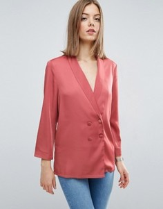Длинная пижамная блузка ASOS Premium - Розовый