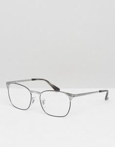 Очки Клабмастер в серебристой оправе Ray-Ban 0RX6386 - Серебряный
