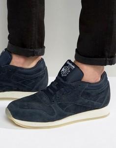 Кожаные крепированные кроссовки Reebok Classic - Синий
