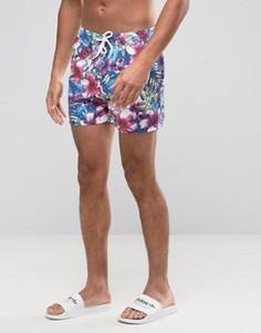 Короткие шорты для плавания с тропическим цветочным принтом ASOS - Синий