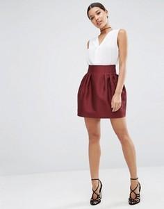 Атласная мини-юбка ASOS - Красный