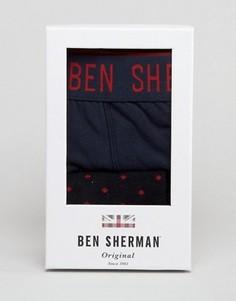 Подарочный набор с темно-синими боксерами-брифами и носками Ben Sherman - Темно-синий