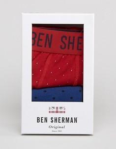 Подарочный набор с боксерами-брифами и носками в горошек Ben Sherman - Красный