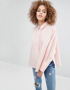 Хлопковая оversize-рубашка с разрезами по бокам ASOS - Розовый