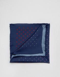 Шелковый платок для пиджака в разноцветный горошек Original Penguin - Темно-синий