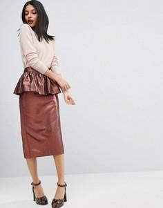 Жаккардовая юбка-карандаш с эффектом металлик и баской ASOS - Золотой