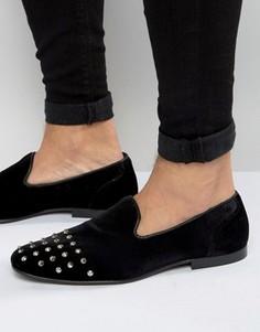 Черные бархатные лоферы с заклепками на носке ASOS - Черный