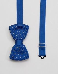 Вязаный темно-синий галстук-бабочка в коробочке 7X - Темно-синий