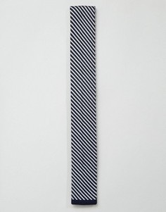 Вязаный галстук в диагональную полоску 7X - Темно-синий