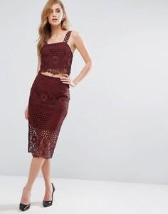 Кружевная юбка-карандаш New Look Premium - Красный