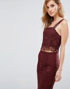 Кружевной кроп-топ New Look Premium Co-ord - Красный