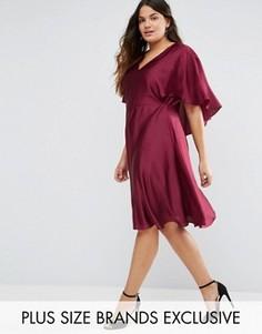 Атласное платье с кейпом и вырезом капелькой сзади Truly You - Красный
