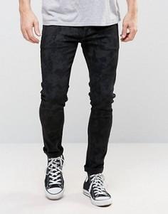 Черные супероблегающие джинсы с камуфляжным принтом ASOS - Черный