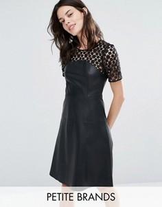 Короткое приталенное платье из искусственной кожи с кружевом Vero Moda Petite - Черный