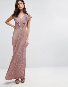 Платье макси с оборками Liquorish - Розовый