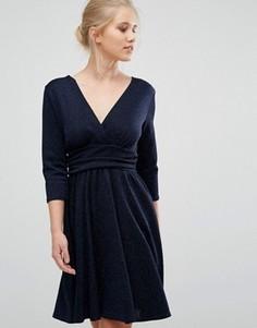 Фактурное платье с шевронной отделкой и рукавами 3/4 Closet - Темно-синий