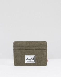 Визитница цвета хаки Herschel Supply Co Charlie - Зеленый
