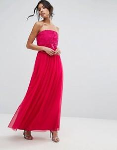 Платье-бандо макси с кружевом Little Mistress - Красный