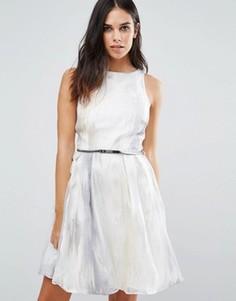 Платье для выпускного из органзы с вышивкой Little Mistress - Серебряный