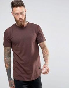 Удлиненная футболка с объемным принтом Only & Sons - Красный