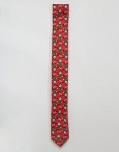 Новогодний галстук с принтом #SELFIE Elf ASOS - Красный