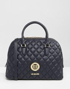 Стеганая сумка с короткими ручками Love Moschino - Темно-синий