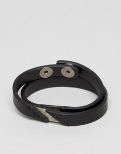 Черный кожаный браслет в несколько оборотов Diesel A-Lineup - Черный