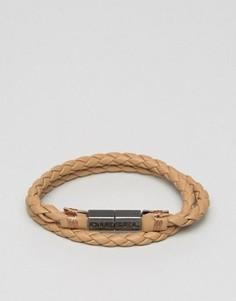 Кожаный светло-коричневый браслет Diesel Alucy - Рыжий