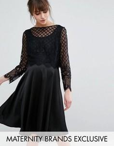 Приталенное платье с атласной юбкой и кружевным лифом Queen Bee - Черный