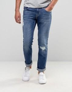 Узкие светлые джинсы с потертостями BOSS Orange by Hugo Boss 63 - Синий