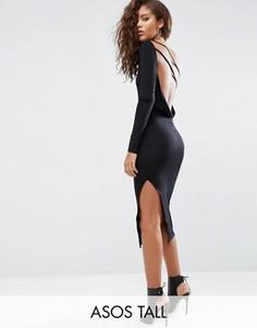 Платье миди на одно плечо ASOS TALL - Черный