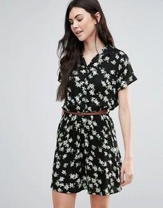 Платье с воротником и цветочным принтом Madam Rage - Черный