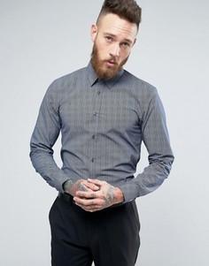 Рубашка слим с шевронным узором HUGO by Hugo Boss Elisha - Темно-синий