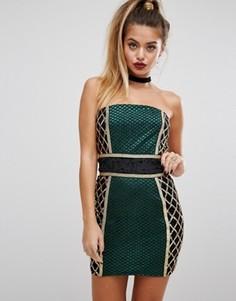 Платье-премиум миди с отделкой без бретелек PrettyLittleThing - Зеленый
