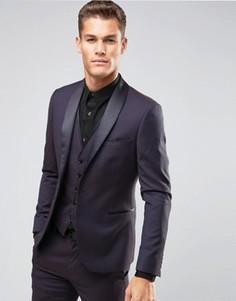 Жаккардовый пиджак скинни с атласными лацканами Burton Menswear - Фиолетовый