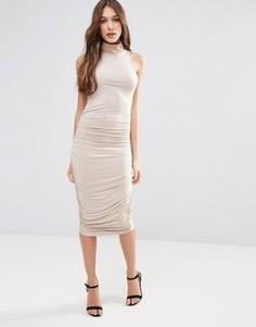 Платье-футляр миди с высоким воротом Hedonia - Коричневый