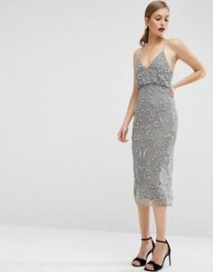 Платье миди с кейпом и бисерной отделкой ASOS - Серый