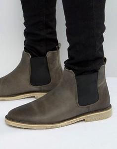 Серые кожаные ботинки челси на подкладке из искусственного меха ASOS - Серый