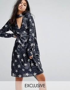 Платье миди с пайетками и драпировкой Reclaimed Vintage - Темно-синий