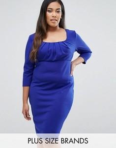 Платье-футляр с плиссировкой на груди Goddiva Plus - Синий