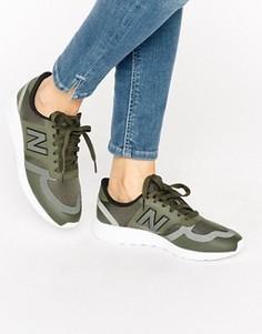 Кроссовки цвета хаки из микросеточки New Balance 420 - Зеленый