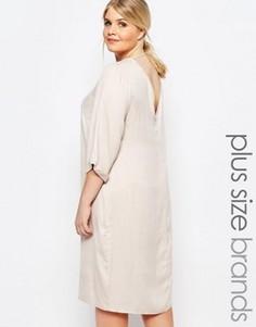 Цельнокройное платье с глубоким вырезом сзади Carmakoma - Кремовый