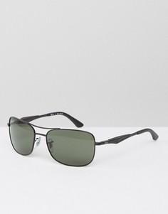 Солнцезащитные очки-авиаторы с квадратной оправой Ray-Ban - Черный