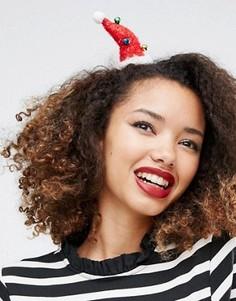 Заколка для волос в виде шапки Санта Клауса ASOS - Красный