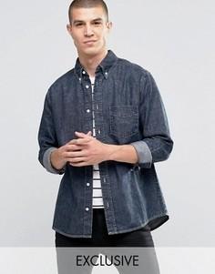 Черная выбеленная рубашка с потертым эффектом Brooklyn Supply Co - Синий